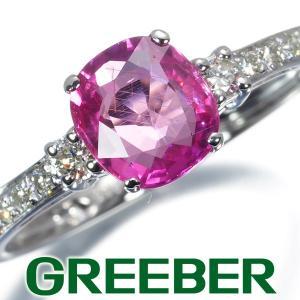 非加熱ルビー 1.05ct ダイヤ ダイヤモンド 0.20ct リング 指輪 K18WG 鑑別書 GENJ|greeber01