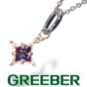 アレキサンドライト 0.192ct ダイヤ ダイヤモンド ネックレス K18WG ソーティング GENJ|greeber01