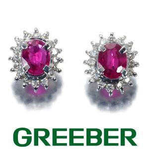 ルビー 0.17ct/0.17ct ダイヤ ダイヤモンド クラシックデザイン ピアス Pt900/プラチナ GENJ|greeber01