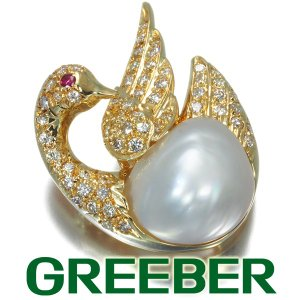 白蝶真珠 バロックパール ダイヤ ダイヤモンド 0.62ct ルビー 白鳥 スワン ブローチ K18YG GENJ|greeber01