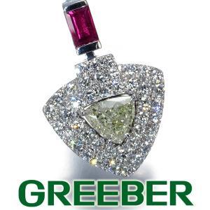ダイヤ ダイヤモンド 0.42ct/0.53ct ルビー 0.26ct ペンダントトップ K18WG 鑑別書 GENJ|greeber01
