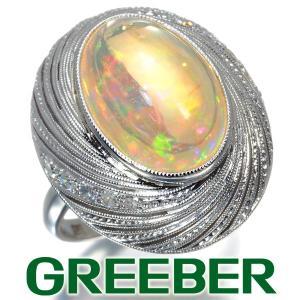 ファイアオパール ダイヤ ダイヤモンド シングルカット クラシカル リング 指輪 Pm GENJ greeber01