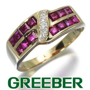 ルビー ダイヤ ダイヤモンド リング 指輪 K18YG/WG GENJ|greeber01