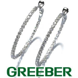 ダイヤ ダイヤモンド 0.42ct/0.42ct フープ ピアス K18WG GENJ|greeber01