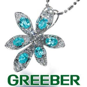 パライバトルマリン 0.54ct ダイヤ ダイヤモンド 0.13ct フラワー ネックレス K18WG GENJ|greeber01
