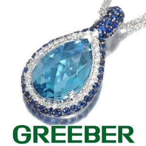 トパーズ サファイア 1.15ct ダイヤ ダイヤモンド 0.23ct ネックレス K18WG ソーティング GENJ greeber01