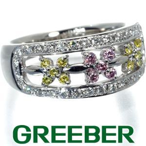 ピンク&イエロー&クリアダイヤ ダイヤモンド 0.35ct フラワー リング 指輪 Pt900/プラチナ GENJ|greeber01