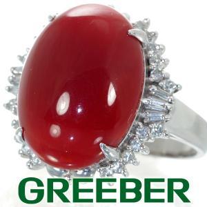 濃厚 血赤珊瑚 サンゴ ダイヤ ダイヤモンド 0.31ct リング 指輪 Pt900/プラチナ GENJ|greeber01
