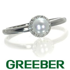 アコヤ真珠 パール 4.4mm珠 ダイヤ ダイヤモンド 0.05ct リング 指輪 Pt900/プラチナ GENJ|greeber01