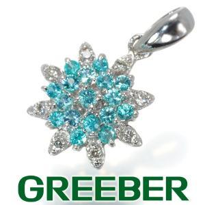 パライバトルマリン 0.15ct ダイヤ ダイヤモンド 0.05ct フラワー ペンダントトップ K18WG GENJ|greeber01