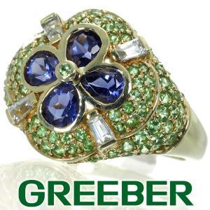 アイオライト ペリドット ホワイトトパーズ クローバー リング 指輪 K10YG GENJ|greeber01