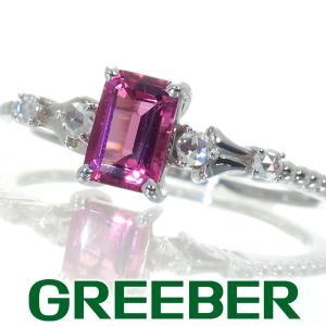 ピンクトルマリン ダイヤ ダイヤモンド 0.09ct ローズカット リング 指輪 K18WG GENJ|greeber01