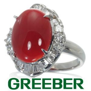 赤珊瑚 サンゴ 5.25ct ダイヤ ダイヤモンド 0.67ct リング 指輪 Pt900/プラチナ GENJ|greeber01