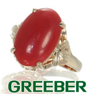 珊瑚 サンゴ オーバル リング 指輪 K18YG GENJ|greeber01