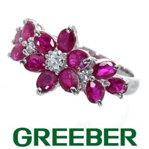 ルビー サファイア フラワー リング 指輪 K14WG GENJ|greeber01