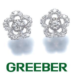 ポンテヴェキオ ピアス ダイヤ ダイヤモンド 0.12ct/0.12ct フラワー K18WG BLJ|greeber01