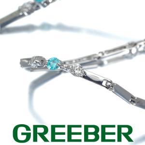 パライバトルマリン 0.152ct ダイヤ ダイヤモンド 0.30ct ブレスレット K18WG GENJ|greeber01