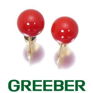 血赤珊瑚 サンゴ 8.5mm珠 イヤリング K18YG GENJ|greeber01