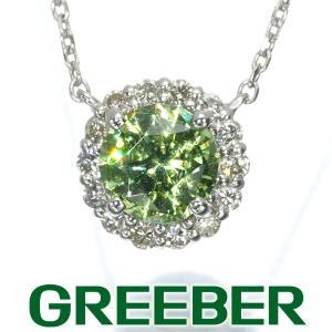 デマントイドガーネット 0.75ct ダイヤ ダイヤモンド 0.12ct ネックレス Pt900/Pt850/プラチナ ソーティング GENJ greeber01