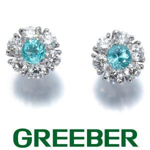 パライバトルマリン 0.25ct ダイヤ ダイヤモンド 0.47ct ピアス Pt900/プラチナ/K18WG ソーティング GENJ|greeber01