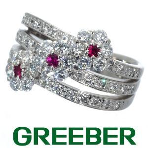 ダイヤ ダイヤモンド 1.04ct ルビー 0.13ct フラワー リング 指輪 Pt900/プラチナ GENJ|greeber01