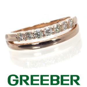 ダイヤ ダイヤモンド 0.23ct 2連デザイン リング 指輪 K10PG GENJ|greeber01