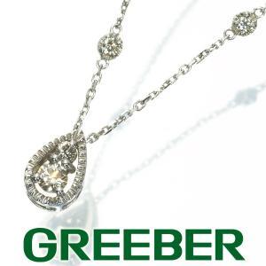ダイヤ ダイヤモンド 0.12ct 雫 ステーション ネックレス K18WG GENJ|greeber01