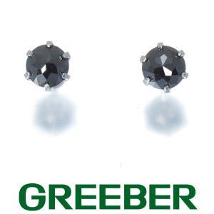 ブラックダイヤ ダイヤモンド 0.30ct/0.30ct 1粒 ピアス Pt900/プラチナ GENJ greeber01
