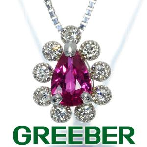 ルビー 0.44ct ダイヤ ダイヤモンド 0.09ct ミルグレイン ネックレス K18WG GENJ|greeber01