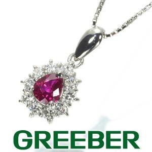 ルビー 0.52ct ダイヤ ダイヤモンド 0.25ct クラシックデザイン ネックレス Pt900/Pt850/プラチナ GENJ|greeber01