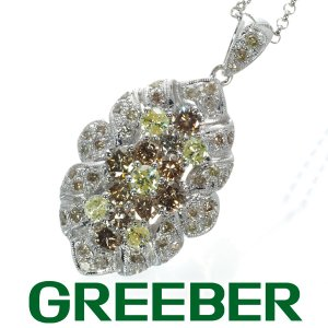 イエロー&ブラウン&クリアダイヤ ダイヤモンド 3.50ct ネックレス K18WG GENJ greeber01