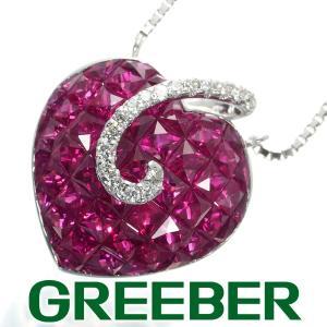 ルビー ダイヤ ダイヤモンド ミステリーセッティング ハート ネックレス K18WG GENJ|greeber01