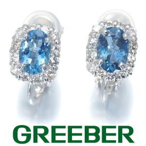 サンタマリアカラー アクアマリン 0.45ct/0.43ct ダイヤ ダイヤモンド イヤリング K18WG GENJ|greeber01