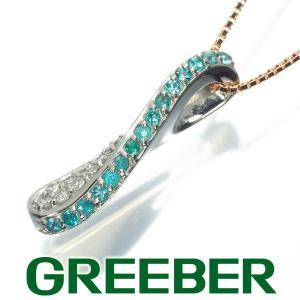 パライバトルマリン 0.15ct ダイヤ ダイヤモンド 0.13ct ネックレス Pt900/プラチナ/K18PG GENJ|greeber01