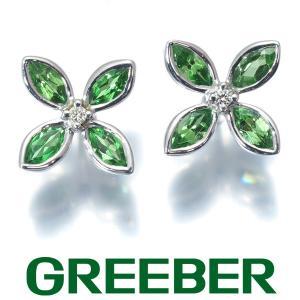 グリーンガーネット 0.32ct/0.32ct ダイヤ ダイヤモンド フラワー ピアス K18WG GENJ|greeber01