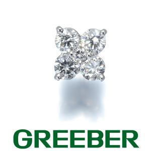 ダイヤ ダイヤモンド 片耳 フラワー ピアス Pt900/プラチナ GENJ|greeber01