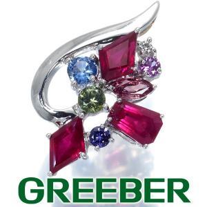 ルビー マルチカラーサファイア ダイヤ ダイヤモンド ペンダントトップ K18WG GENJ|greeber01