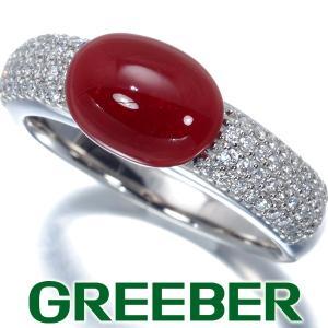 濃厚 血赤珊瑚 サンゴ ダイヤ ダイヤモンド 0.36ct パヴェ リング 指輪 Pt900/プラチナ GENJ greeber01