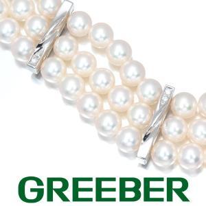 ミキモト ブレスレット アコヤ真珠 パール ダイヤ ダイヤモンド 3連 K18WG BLJ|greeber01
