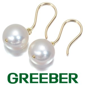 大粒 ミキモト ピアス アコヤ真珠 パール 9.3mm珠 アメリカンフック K18YG 箱 BLJ|greeber01
