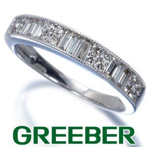 ダイヤ ダイヤモンド 0.50ct バケットカット ハーフエタニティ 2種カット ミルグレイン リング 指輪 K18WG GENJ|greeber01