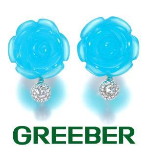 シーブルーカルセドニー ローズカットダイヤ ダイヤモンド フラワー ピアス K18WG GENJ greeber01