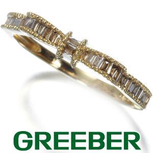ダイヤ ダイヤモンド 0.30ct テーパー&バケットカット リボン ミルグレイン リング 指輪 K18YG GENJ|greeber01
