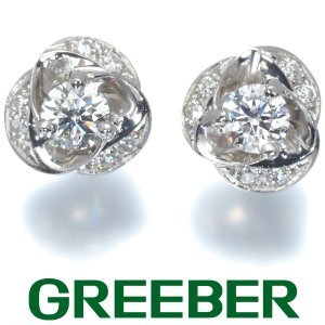 上質ダイヤ ダイヤモンド 0.157ct/0.157ct/0.06ct フラワー ピアス Pt900/プラチナ GENJ greeber01