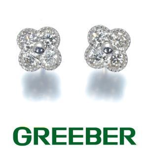 ダイヤ ダイヤモンド 0.15ct/0.15ct フラワー ミルグレイン ピアス K18WG GENJ 特別値下げ品|greeber01