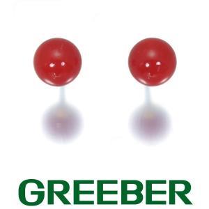 赤珊瑚 サンゴ ピアス K18YG GENJ|greeber01