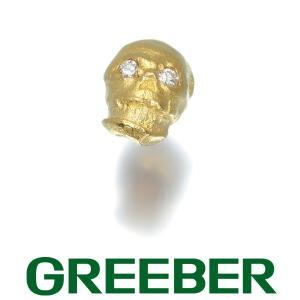 ダイヤ ダイヤモンド スカル 艶消し 片耳 ピアス K18YG GENJ 大幅値下げ品|greeber01