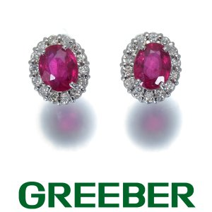 ルビー 0.27ct/0.28ct ダイヤ ダイヤモンド ピアス K18WG GENJ|greeber01