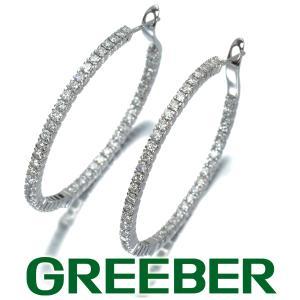 豪華 ダイヤ ダイヤモンド 2.00ct フープ ピアス K18WG GENJ|greeber01