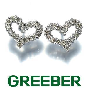 ダイヤ ダイヤモンド 0.15ct/0.15ct ハート ピアス K18WG GENJ|greeber01